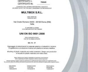 Certificato di qualità UNI EN ISO 9001:2008